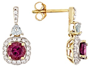 Purple Garnet 10k Yellow Gold Earrings 1.85ctw