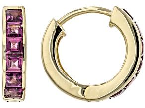 Purple Grape Color Garnet 10K Yellow Gold Huggie Earrings. 1.02ctw