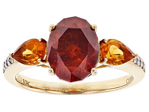 Orange Sphalerite 10k Yellow Gold Ring 3.88ctw