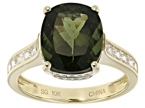 Green Moldavite 10k Yellow Gold Ring 4.44ctw