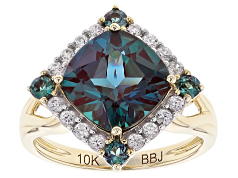 Multi-Color Lab Created Alexandrite Yellow Gold Ring 5.41ctw