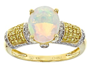 Multicolor Opal 10k Yellow Gold Ring. 2.07ctw