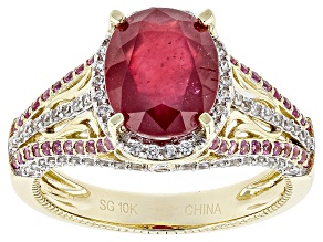 Red Ruby 10k Yellow Gold Ring 4.54ctw