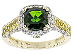 Green Chrome Diopside 10k Yellow Gold Ring 3.35ctw