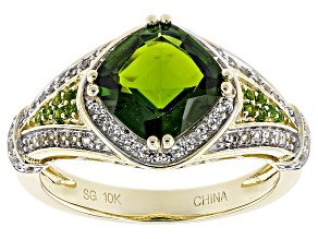 Green Chrome Diopside 10k Yellow Gold Ring 2.51ctw