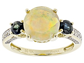 Multicolor Opal 10k Yellow Gold Ring 2.63ctw