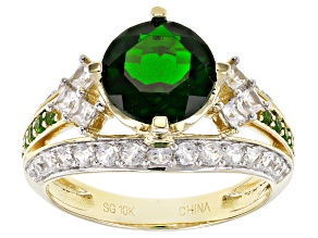 Green Chrome Diopside 10k Yellow Gold Ring 3.86ctw