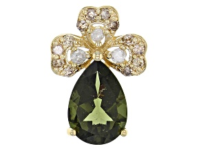 Green Moldavite 10k Yellow Gold Pendant 1.49ctw
