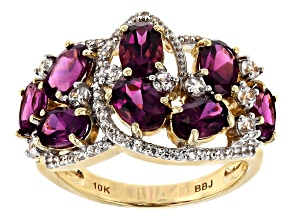 Grape Color Garnet 10k Yellow Gold Ring 4.76ctw