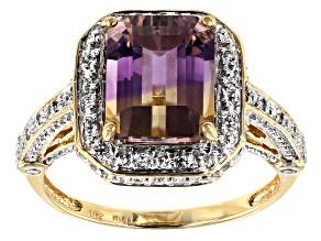 Bi-Color Ametrine 10k Yellow Gold Ring 3.03ctw