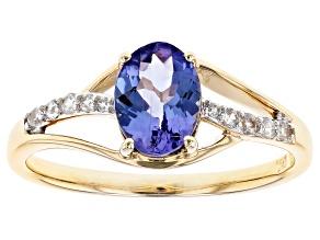 Blue Tanzanite 10k Yellow Gold Ring 1.08ctw