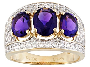 Purple Uruguayan amethyst 10k yellow gold ring 3.27ctw.