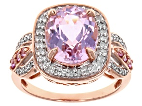 Pink Kunzite 10k Rose Gold Ring 4.14ctw.