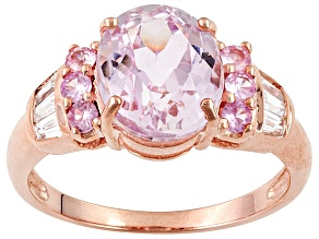 Pink Kunzite 10k Rose Gold Ring 3.31ctw.