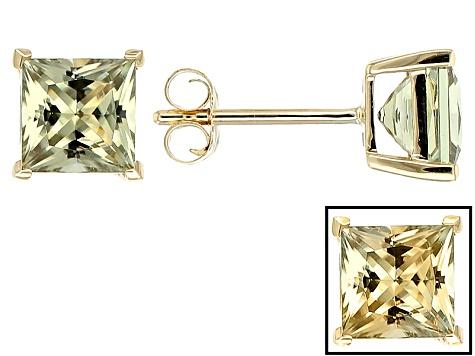 Green Turkish Zultanite 14k Yellow Gold Stud Earrings 2 20ctw