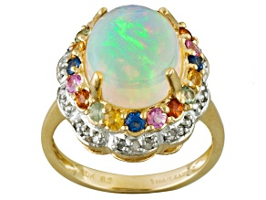 White Ethiopian Opal 10k Yellow Gold Ring 3.70ctw