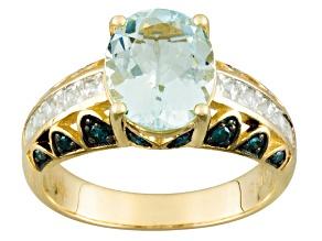 Blue Aquamarine 10k Yellow Gold Ring 2.69ctw