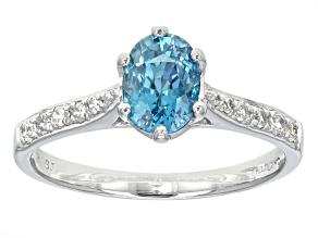 Blue Zircon 10k White Gold Ring 1.91ctw