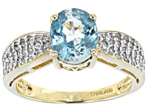 Blue And White Zircon 10k Yellow Gold Ring 2.76ctw