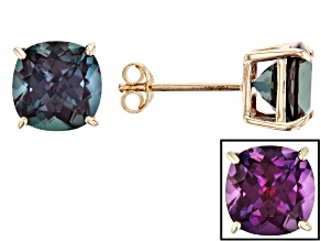 Blue Lab Alexandrite 10k Yellow Gold Stud Earrings 4.46ctw