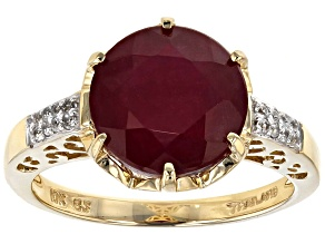 Mahaleo Ruby 10k Yellow Gold Ring 5.28ctw