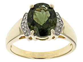 Green Moldavite 10k Yellow Gold Ring 1.30ctw