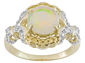Multicolor Ethiopian Opal 10k Yellow Gold Ring 1.35ctw