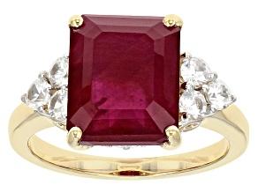 Mahaleo Ruby 10k Yellow Gold Ring 5.20ctw