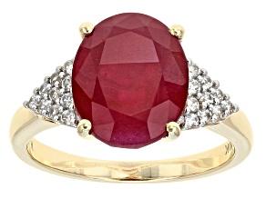Mahaleo Ruby 10k Yellow Gold Ring 4.27ctw