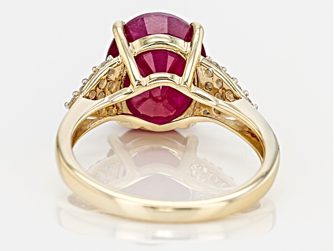 Mahaleo Ruby 10k Yellow Gold Ring 4.27ctw