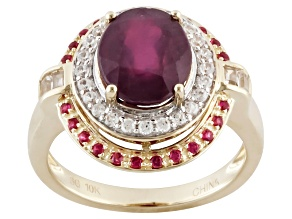Mahaleo Ruby 10k Yellow Gold Ring 3.47ctw