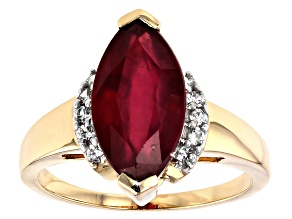 Mahaleo Ruby 10k Yellow Gold Ring 3.18ctw