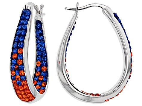 Preciosa Crystal Blue And Orange Horseshoe Hoop Earrings
