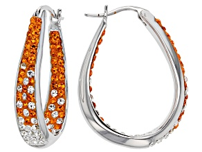 Crystal Orange And White Horseshoe Hoop Earrings