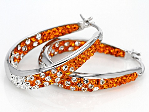 Preciosa Crystal Orange And White Horseshoe Hoop Earrings