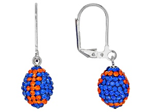 Preciosa Crystal Blue And Orange Football Dangle Earrings