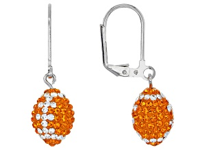 Preciosa Crystal Orange And White Football Dangle Earrings