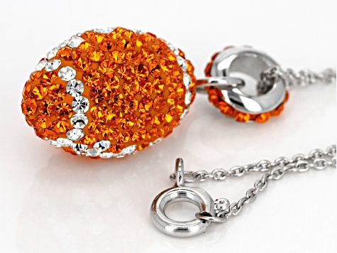 Preciosa Crystal Orange And White Football Necklace