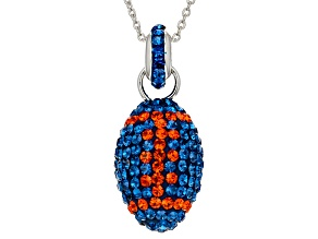 Preciosa Crystal Blue And Orange Football Necklace