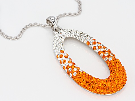 Preciosa Crystal Orange And White Oval Necklace