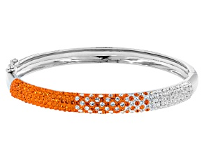 Preciosa Crystal Orange And White Bangle Bracelet