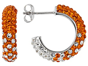 Preciosa Crystal Orange And White Hoop Earrings