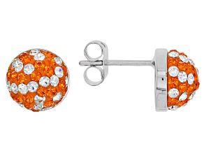 Preciosa Crystal Orange And White Stud Earrings