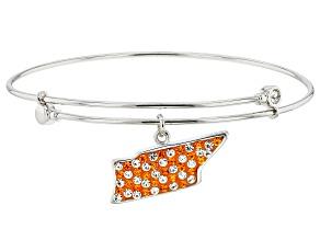 Preciosa Crystal Orange And White Tennessee State Charm Bangle Bracelet