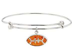 Preciosa Crystal Orange And White Football Charm Bangle Bracelet