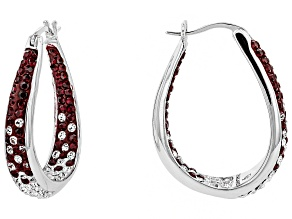 Preciosa Crystal Maroon And White Horseshoe Hoop Earrings