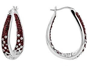 Preciosa Crystal Maroon And White Horseshoe Hoop Earrings