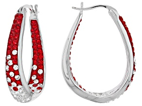 Preciosa Crystal Red and White Horseshoe Hoop Earrings
