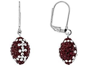 Preciosa Crystal Maroon And White Football Dangle Earrings