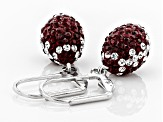 Preciosa Crystal Maroon And White Football Dangle Earrings